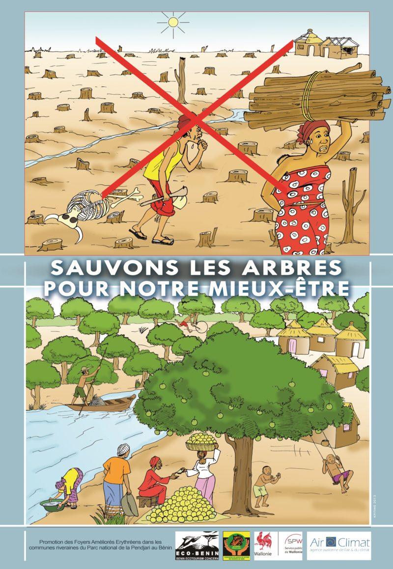 Poster sauvons les arbres pour notre mieux être