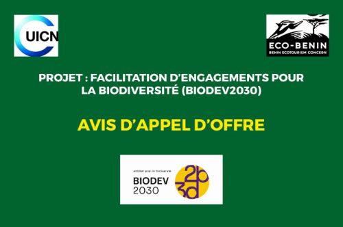 Relance : Recrutement d'une équipe de consultants pour l'Élaboration de stratégies et scenarii d'engagement des acteurs économiques pour la conservation de la biodiversité au Bénin dans le cadre du projet BIODEV-2030